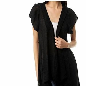 Lucky Brand hooded open front cardigan black